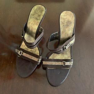 Brown and Gold leather heeled sandals